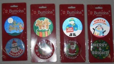 144 packs of 2 christmas badges large assorted bulk wholesale lot