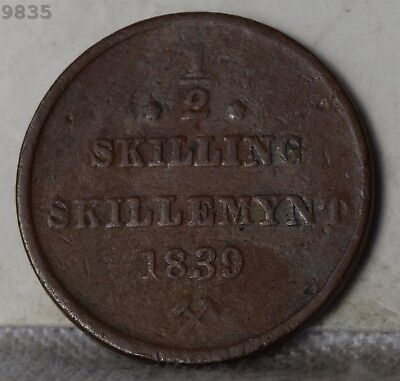 1839 Norway 1/2 Skilling *Free S/H After 1st Item*