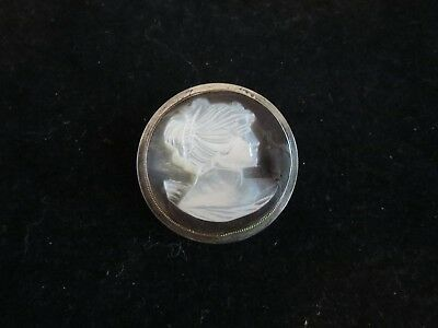 "Large Antique Mop Mother Of Pearl ""cameo"" Button 1 1/2"""