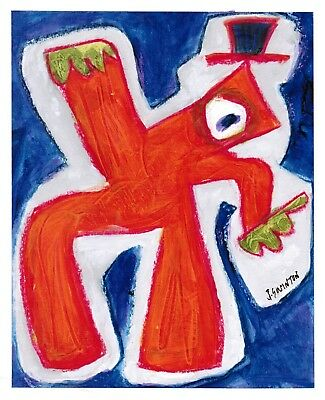 TRICKSTER abstract/folk/outsider? mixed media painting J.Swinton Canadian NR