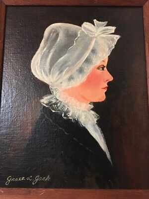 Beautiful Vintage  Portrait Oil Painting Of An Amish ? Woman Signed Grace Jack