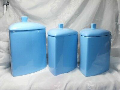 Set Of 3 Triangular Blue Hawaiian Buffalo China Stoneware Canisters By Oneida