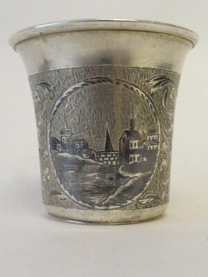 Antique Russian silver 84 niello enamel cup, circa 1848. Weight is 62 grams