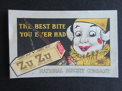 1917 F-Series ZU ZU GINGER SNAPS Clown National Biscuit Advertising Card NM