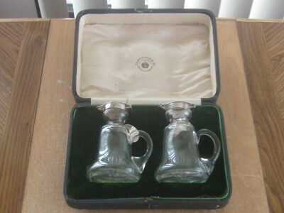 Vintage Asprey Sterling Silver & Crystal Whiskey Noggin Pair with Tags In Box!!