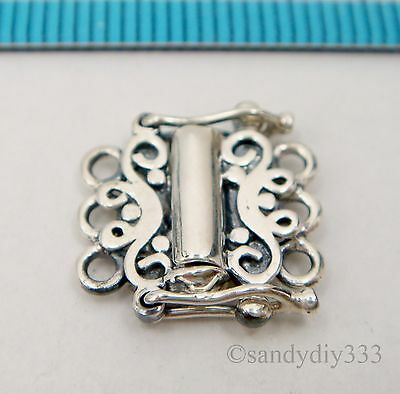 1x OXIDIZED ANTIQUE STERLING SILVER 3-STRAND FLOWER BOX CLASP 12mm #2499