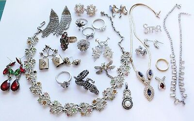 Large Lot of Vintage Rhinestone Jewelry Earrings, Rings, Necklaces & Brooches