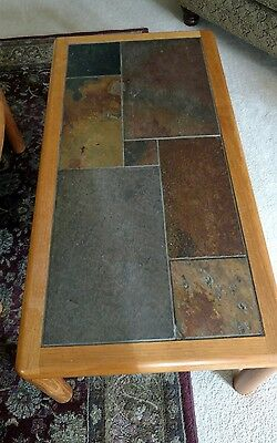 Mid Century Danish teak coffee table by Haslev with tile top and end table