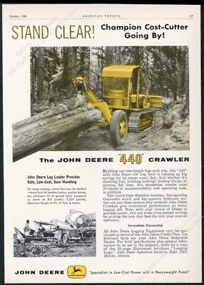 1959 John Deere 440 crawler tractor with Log Arch photo vintage trade print ad