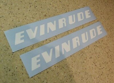 "Evinrude Vintage Outboard Motor Decal 9"" White FREE SHIP + FREE Fish Decal!"