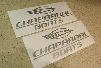 "Chaparral Boat Vintage Decals 9"" Silver 2-Pak FREE SHIP + FREE Fish Decal!"