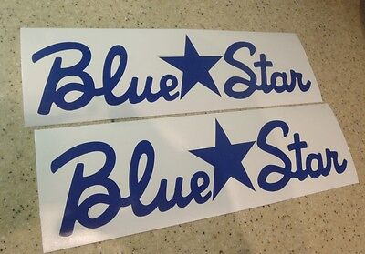"Blue Star Vintage Boat Decal Die-Cut Blue 12"" 2-PAK FREE SHIP + Free Fish Decal!"