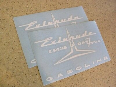 Evinrude Crus-A-Day Four Tank Decal 2-PAK FREE SHIP + FREE Fish Decal!