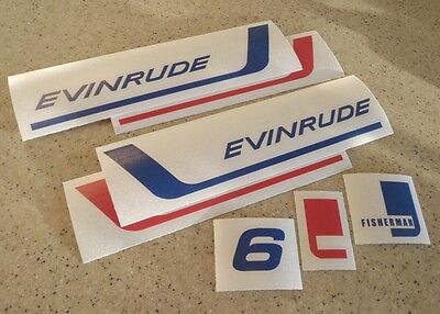 Evinrude Fisherman 6 HP Vintage Outboard Decal Kit FREE SHIP + FREE Fish Decal!