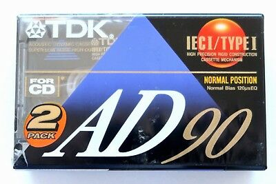 2 Pack - Tdk Ad 90 Premium Normal Position Type I Blank Audio Cassettes - 1992