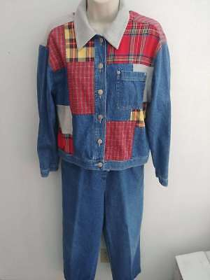 Vtg. 80's Womens SUSAN BRISTOL CASUALS Patchwork Denim Jacket and pant set Size