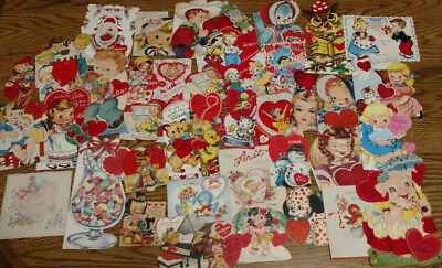 Lot Of 55 Vintage Mid Century Childrens Valentine Cards used