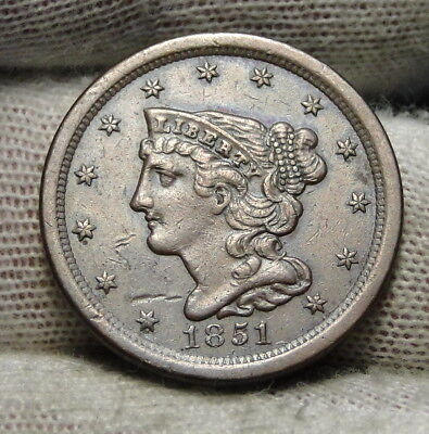 1851 Braided Hair Half Cent - Rare Only 147,672 Minted . Nice Coin (7243)