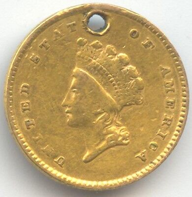 1854 Gold Dollar, Scarce Type 2, VF Details, Hole, True Auction, No Reserve