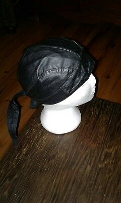 Motorcycle Leather Skull Cap - New - Soft Black Leather