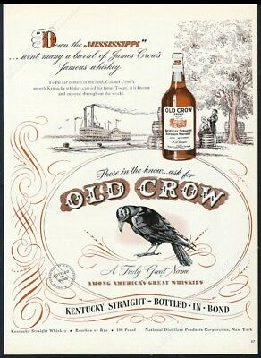 1947 Old Crow Bourbon Whiskey black bird riverboat art vintage print ad