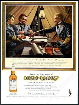 1961 General Nathan Bedford Forrest Civil War art Old Crow Bourbon Whiskey ad