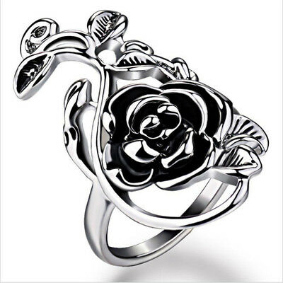 Fashion Stainless Steel Open Rose Flower and Vine Ring Women Girl Gift Size 8-11