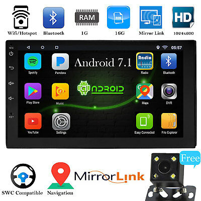 Android 7.1 Bluetooth Car Navigation Stereo 2-DIN In Dash Radio USB Rear Camera