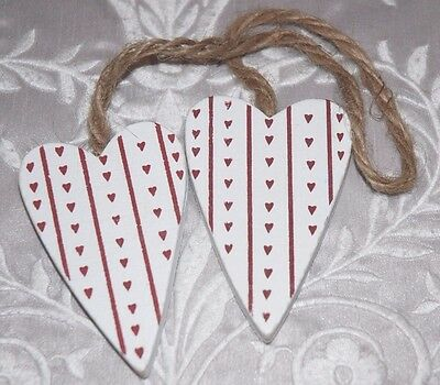Pair of White Painted Wood Nordic Style Heart Decorations - Shabby Chic