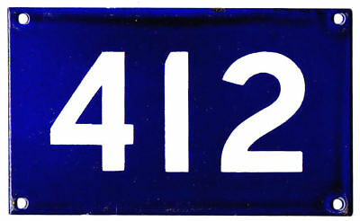 Old Australian house number 412 door gate plate plaque enamel sign French blue