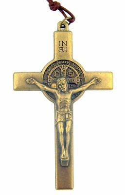 Saint St Benedict of Nursia Cross 3 Inch Bronze Tone Crucifix on Cord Chain
