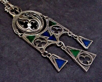 c.1970s SIGNED 'MIRACLE' Medieval GOTHIC STAINED GLASS PENDANT Blue Green Glass