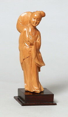 Beautiful Vintage Chinese Carved Boxwood Wooden Figure Lady #4