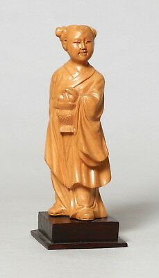 Beautiful Vintage Chinese Carved Boxwood Wooden Figure Young Lady #6