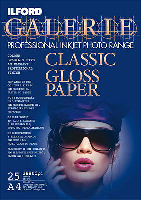A4 Ilford Galerie Classic Gloss 240gsm 100 sheets Professional Photo Paper