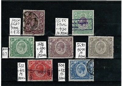#639 KUT E7 & GV HIGH VALUES Postal/Fiscals M/U on card c£a lot as postal (7)
