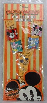 Disney Trading Pins MICKEY MOUSE STARTER SET STRIPED  with LANYARD Set of 4