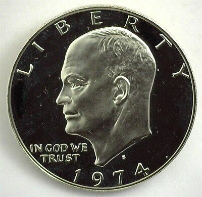 1974-S Ike Eisenhower Silver Dollar  Near Perfect Proof Dcam