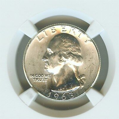 1963 Washington Silver 25 Cents - Type B Reverse - Ngc Ms65