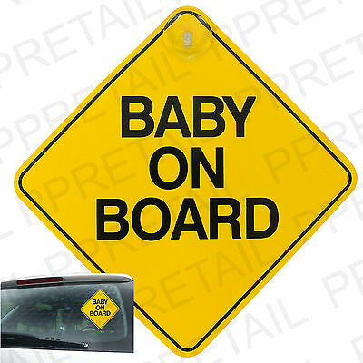 YELLOW BABY ON BOARD CAR SIGN + SUCTION CUP Rear Vehicle Window Display NEW