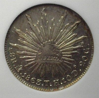 Mexico 1863-Moth Silver 8 Reales  Near Choice Uncirculated Proof Like