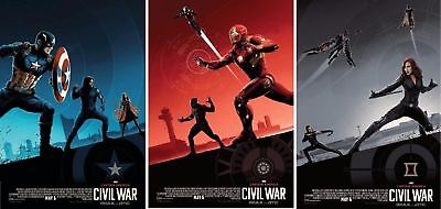CAPTAIN AMERICA CIVIL WAR AMC COMPLETE SET OF 3 - 9x13 INCH PROMO MOVIE POSTERS