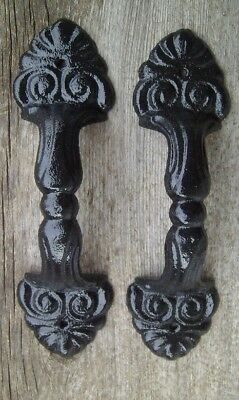 "Set of 2 Large 8.5"" Fancy Cast Iron Gate Barn Door Shed Pull Handle Black Finish"
