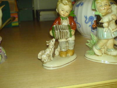"""German Figure - Boy With Squeeze Box & Little Dog - Germany 20468 - 4 1/4"""""""