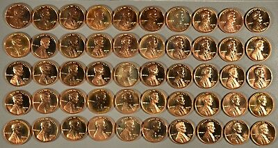 1970-S Large Date Proof Full Roll Lincoln Cents - (50 Coins), Rj1