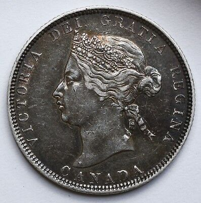 VERY NICE 1872 Canadian Queen Victoria Silver 25 Cents