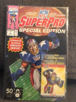 1991 Marvel Super Pro NFL Comic Book #1 Issue - Special Edition-Mint With Cards!