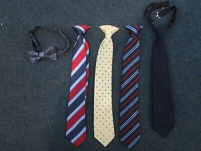 """Lot of 4 Boy Ties 15"""" Long and Bowtie"""