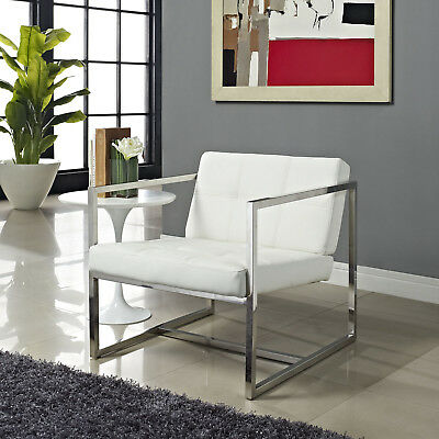 Modway Hover Faux Leather Lounge Chair in White