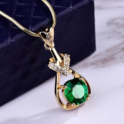 Women Green Emerald Gemstone Crystal Silver Gold Pendant Chain Necklace Jewelry
